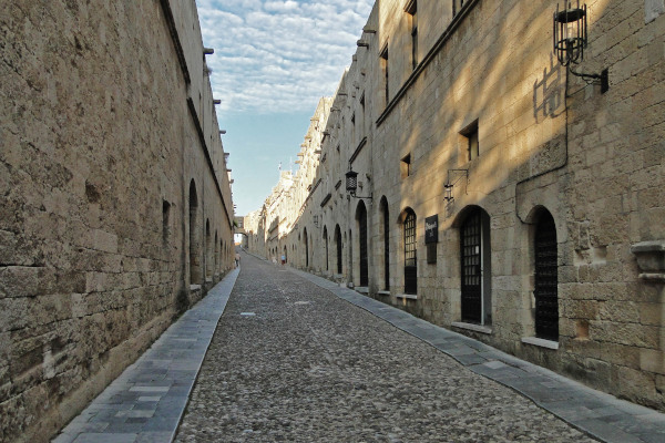Buildings aligned in the Street of Knights in the Old Medieval Town of Rhodes.