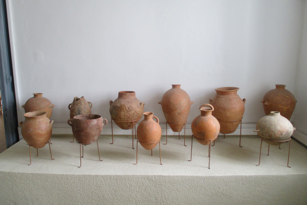 Pottery as exhibits in one of the rooms of the Archaeological Museum of Samos.