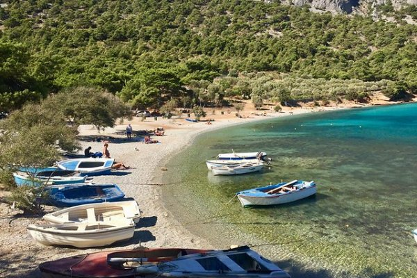 The Mourtia beach near Vathi on Samos island.