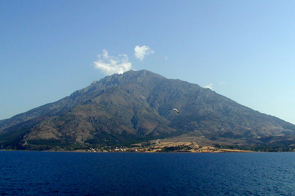 A broad picture showing the Saos Mountain of Samothraki taken from the sea.