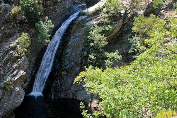 The waterfall of the biggest of the Samothraki ponds at the so called stream