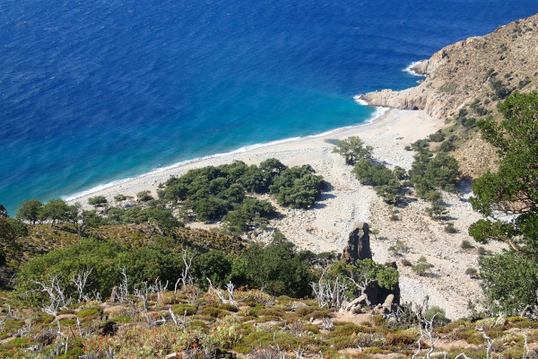 A panoramic photo showing the beach of Vatos on Samothraki island.