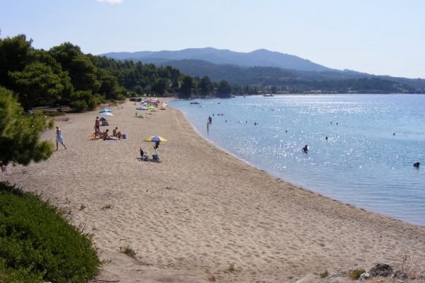 An overview of the Lagomandra Beach of Sithonia on Halkidiki.