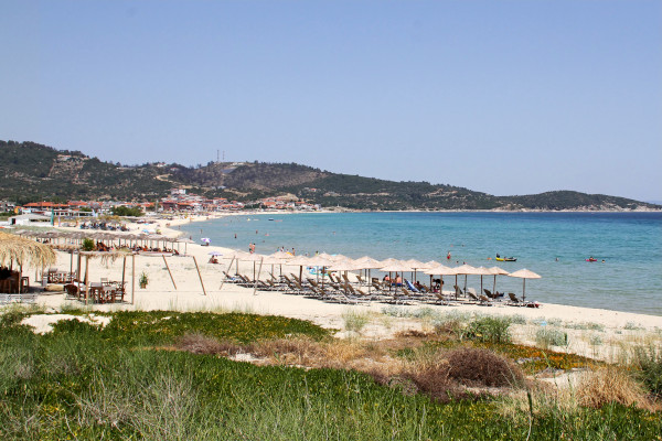 A panoramic picture showing the beach of Sarti at Sithonia, Halkidiki.