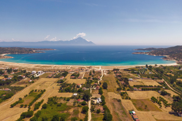 An aerial photo showing the beach of Sykia at Sithonia Halkidiki.