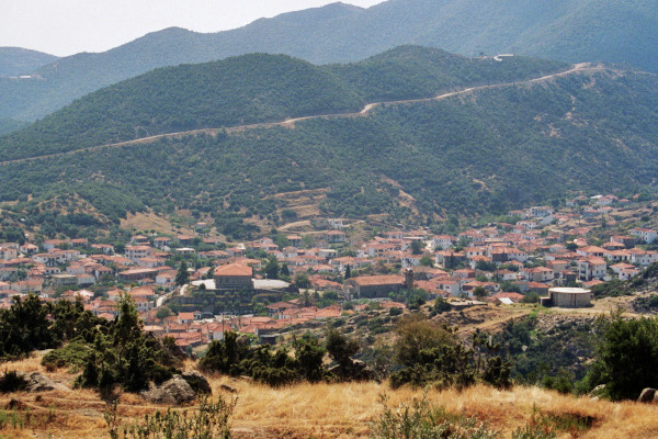 An overview of the village of Sykia among the hills and the mountains of the inner peninsula of Sithonia.