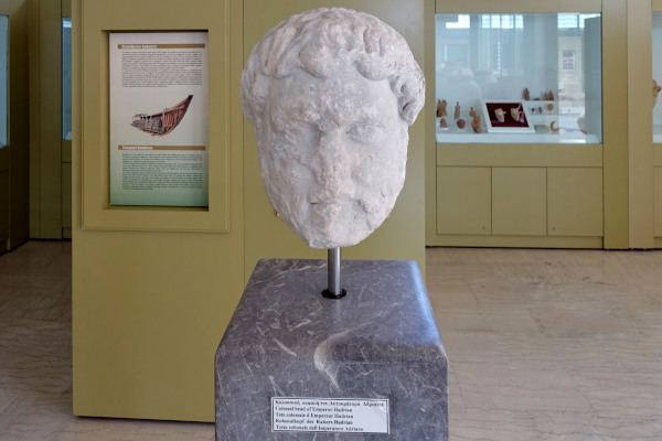 Marble head of the Emperor Hadrian, an exhibit of the Archaeological Museum of Sitia.