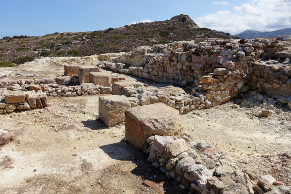 A picture of the ruins of the Archeological Site of Minoan Petra in Sitia, Crete.
