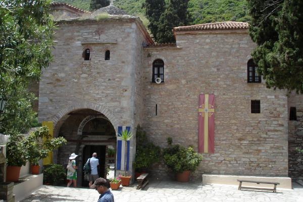 The main gate to the inner yard of the Evangelistria Monastery of Skiathos.