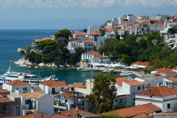 An overview of Skiathos town showing a part of the settlement and the bay of the old port.