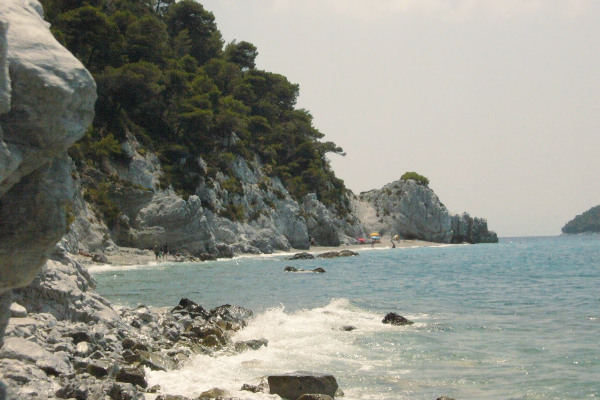 A picture showing a part of the Hovolo beach on the island of Skopelos.