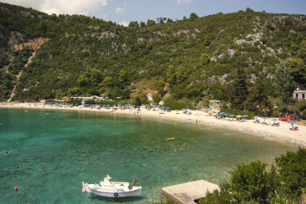 A panoramic picture of the Limnonari beach on the island of Skopelos.