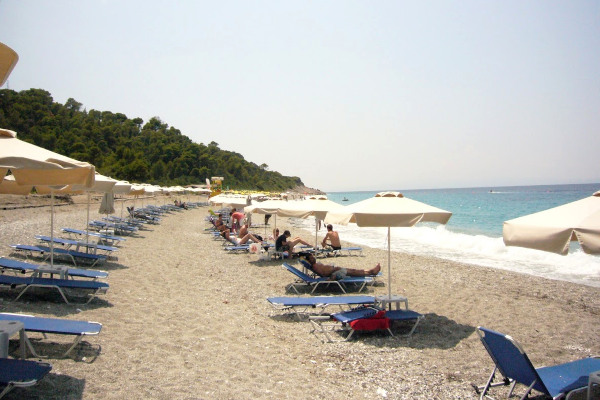 A photo of umbrellas and sunbeds at the beach of Milia on Skopelos island.