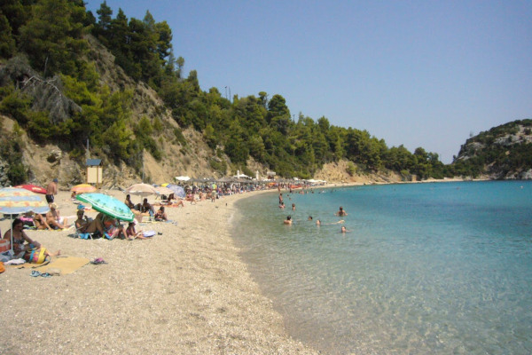 An image showing the beach of Stafilos (Stafylos) on the island of Skopelos.