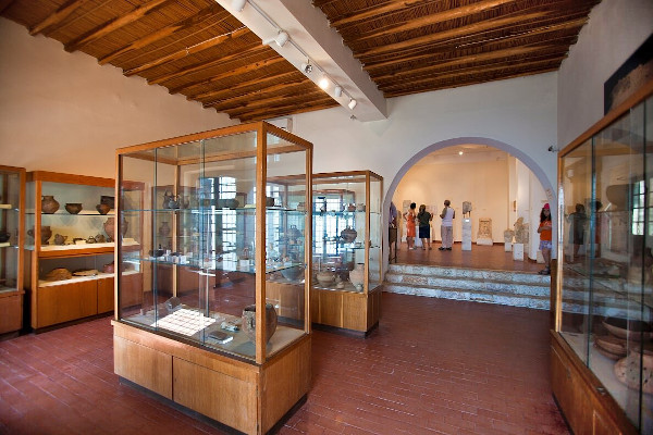 Displays with exhibits in one of the rooms of the Archaeological Museum of Skyros.
