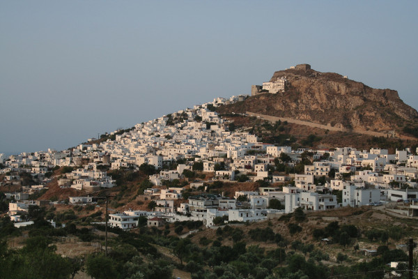 An overview of the central village of Skyros (Chora) built amphitheatrically on the hill.