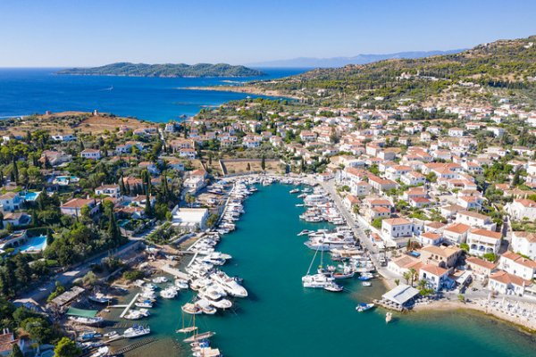An aerial photo showing the Old Port of Baltiza on Spetses island.