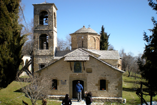 The main entrance of the main church of the monastery of the Assumption of Mary at Spilaio, Grevena.