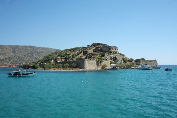 An picture of the island of Spinalonga where the Venetian fortifications stand.