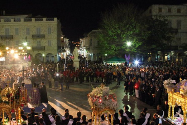 The meeting of numerous epitaphs from different parishes during the litany of the Holy Friday in Syros.