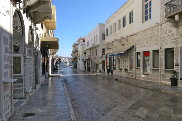 A central street of Ermoupoli Town in Syros covered with marble.