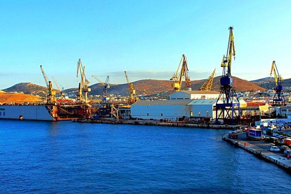 A photo showing the Neorion Shipyards of Syros.