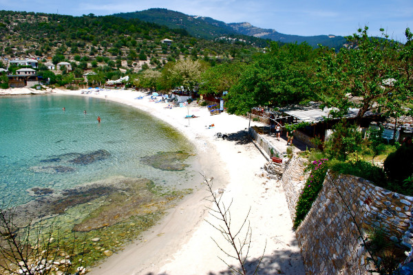 An overview of the Aliki Beach on Thasos island.