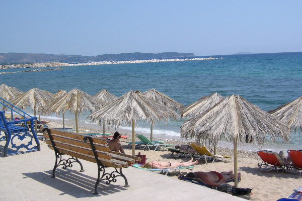 A photo taken from the seafront promenade of Limenaria shows a part of the Limenaria Beach of Thasos.