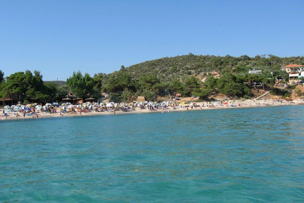 A photo taken from the sea shows the beach of Psili Ammos on Thasos island.