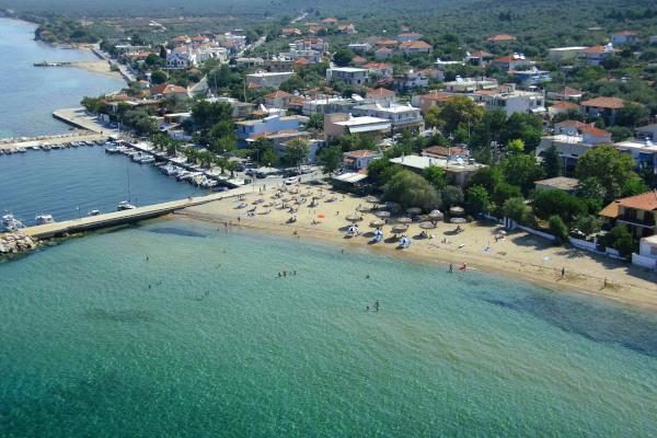 An aerial photo of the Skala Kallirakhis Beach on Thasos island.
