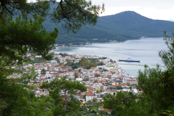A picture taken from the nearby hill showing a great part of the port and the town of Limenas of Thasos.