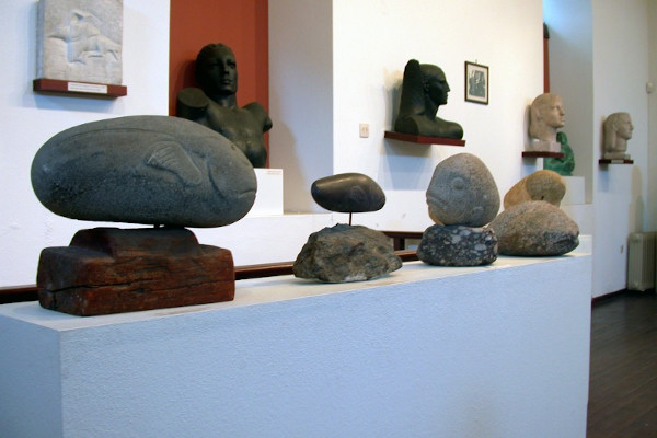 A close up on the exhibits displayed in the museum of Polygnotos Vagis on Thasos island.