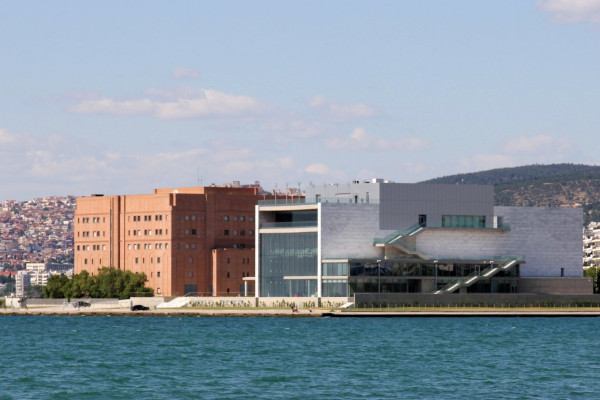 A picture showing the two buildings of the Concert Hall of Thessaloniki.