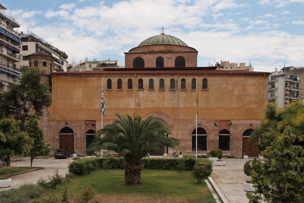 The front and the main entrance of Hagia Sophia of Thessaloniki including a big part of the churchyard.
