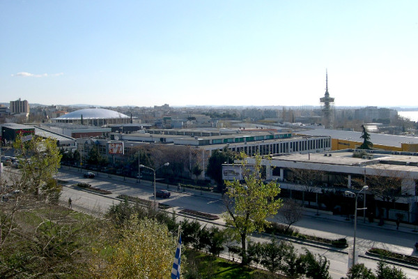 A panoramic view of the facilities of the International Fair of Thessaloniki (TIF-HELEXPO)