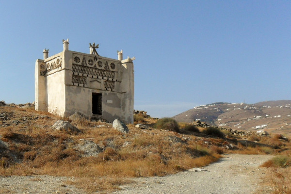 A beautifully decorated dovecote that resembles a castle on the island of Tinos.