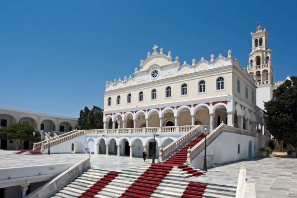 The steps with the red carpet that lead to the main entrance of the church of the Virgin Mary in Tinos island.