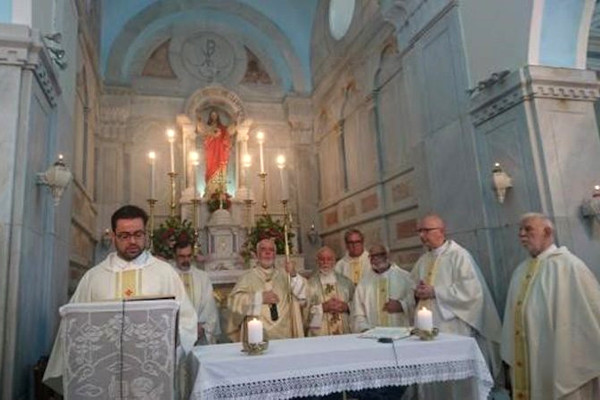Catholic priests during the celebrating ritual of the Sacred Heart of Jesus Convent in Exomvourgo of Tinos.