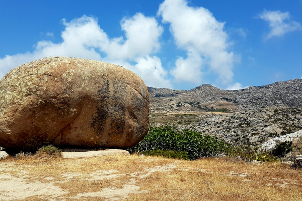 A huge round granite rock as a characteristic element of the area of Volax on the island of Tinos.