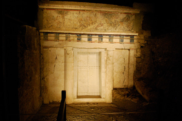 The main entrance of the tomb of the Philip ll in Vergina.
