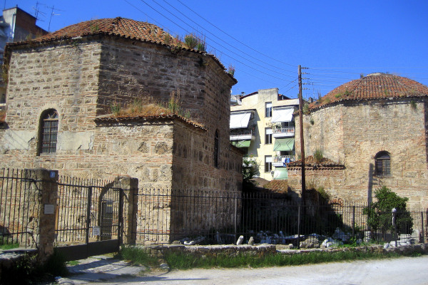 The exterior of the two buildings of the Twin Baths of Tuzcu Sinan at the city of Veria.