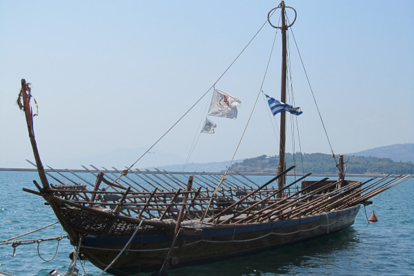 The wooden replica of the ship of «Argo» anchored by the seafront promenade of Volos.