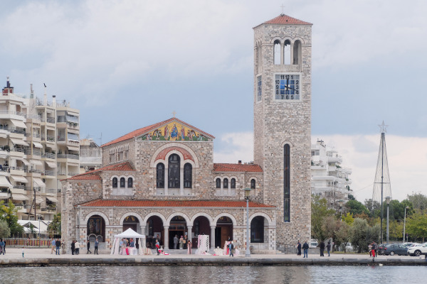 The front side and the high belfry of the Church of Saints Constantine and Helena in Volos.