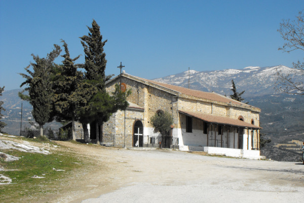 A picture of the exterior of the church of Zoodochos Pigi (Life-giving Spring) on the hill of Goritsa in Volos.