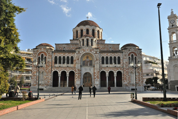 The front and the main entrance of the St. Nicholas Metropolitan Cathedral of Volos.