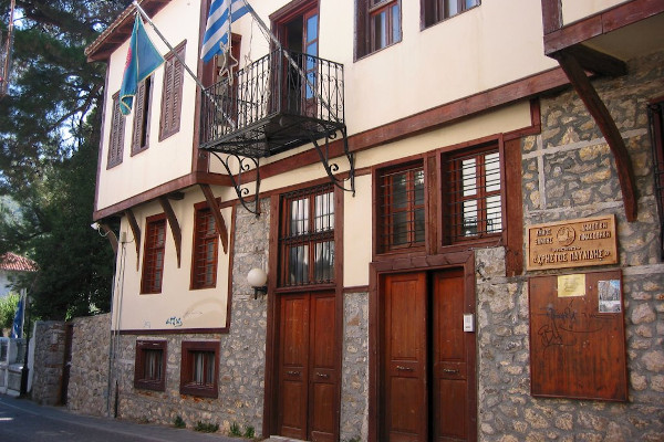 The exterior and the main entrance of the Municipal Art Gallery of Xanthi.