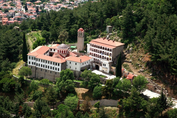A panoramic view of the monastery of Panagia Archageliotissa in Xanthi.