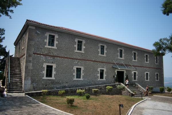 The front side and the main entrance of the stone-built Byzantine Museum of Fthiotida in Ypati.