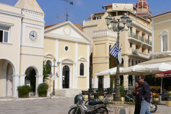 The front side and the main entrance of the San Marco Catholic Church in Zakynthos Town.