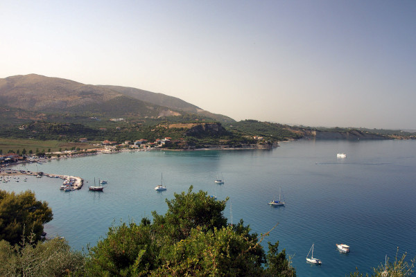 An overview of the Keri bay with the beach and its small harbor.